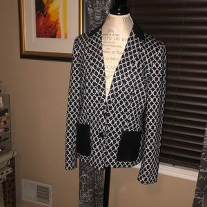 Anne Klein Printed Blazer w Pleather Accents - 12
